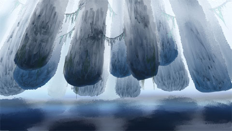 Floating Pillars, digital painting by mrbiotech