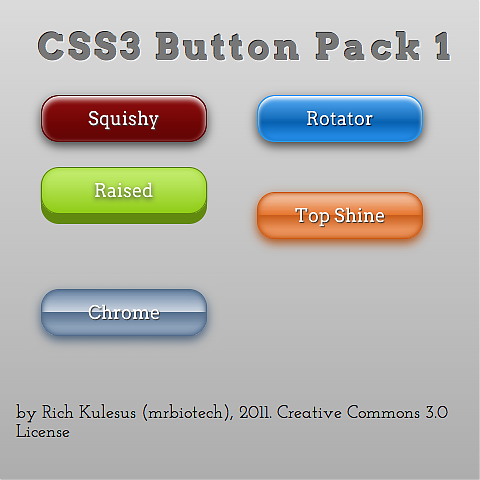 Free CSS3 Buttons for webdesign, by mrbiotech