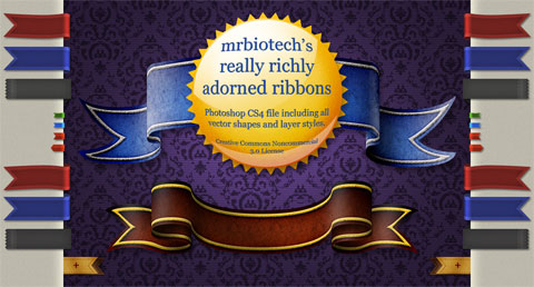 Mrbiotech's really richly adorned ribbons PSD file
