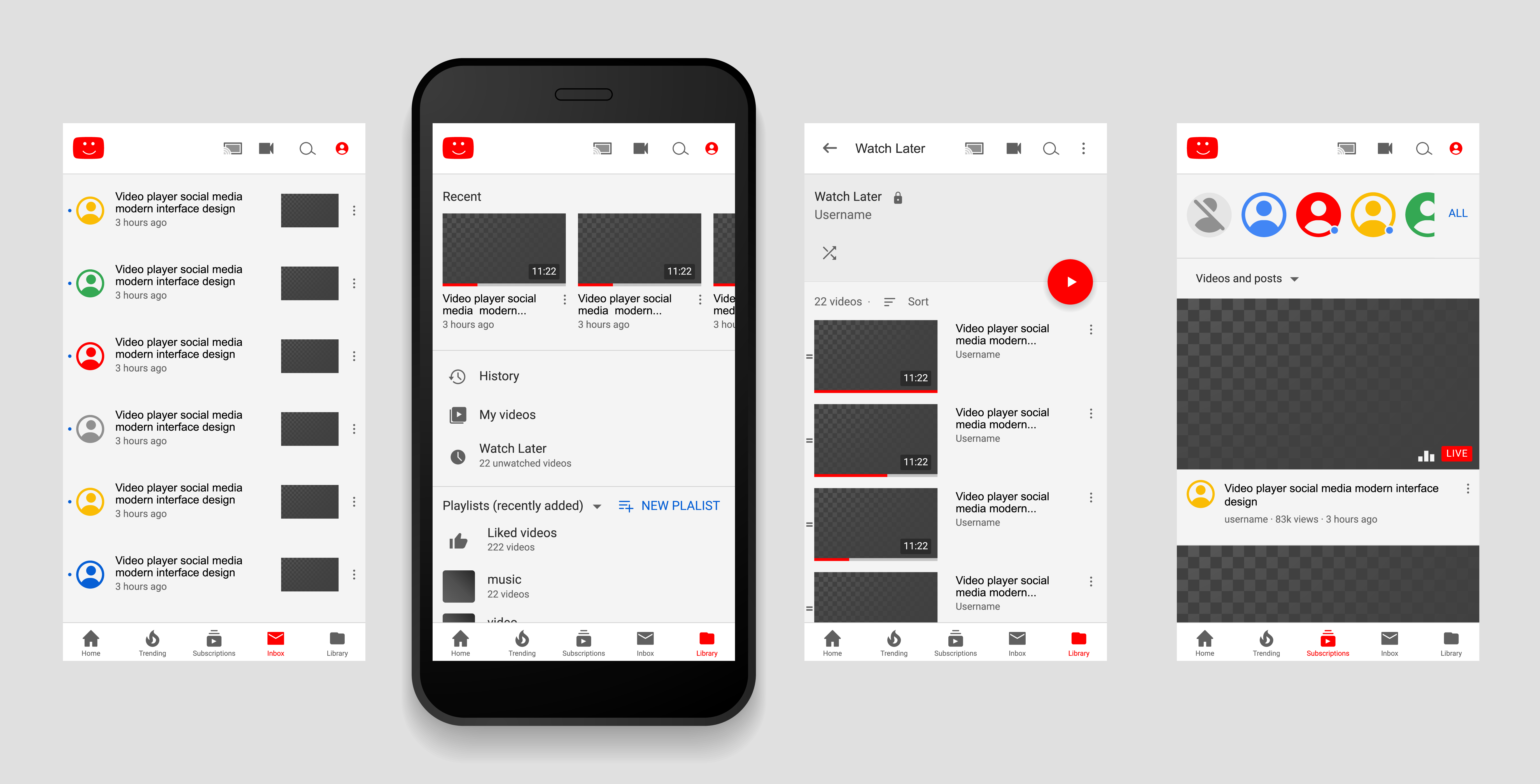 Youtube Video player Screen interface in social media application. Video frame design app post template. YouTube vector mock up illustration