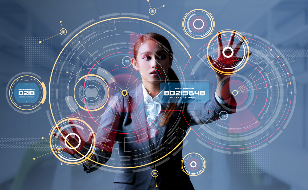 young woman and head up display hud gui internet of things
